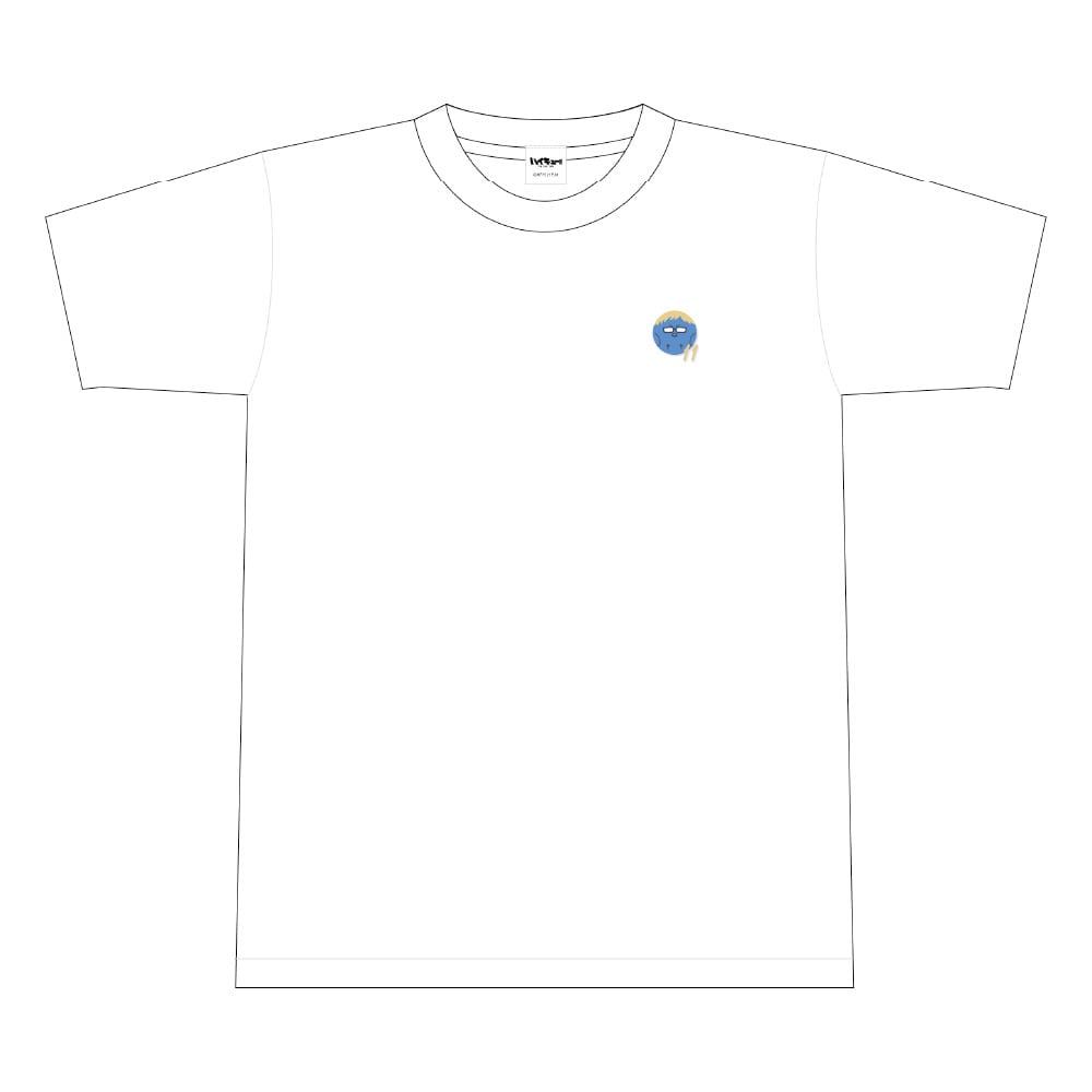 ハイキュー!! TO THE TOP ビーチボール風ワンポイント刺繍Tシャツ 文房具カフェコラボ <月島> Mサイズ